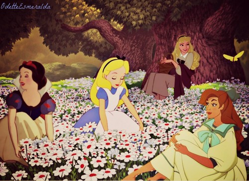 disney crossover wallpaper titled Picking Flowers