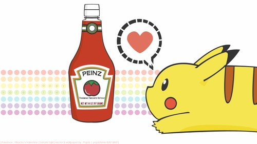 Pokémon achtergrond probably containing a tabasco and an oranje soda entitled Pikachu & Ketchup