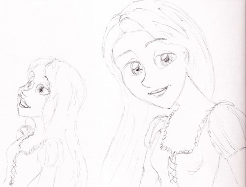 Rapunzel and Ariel Sketches