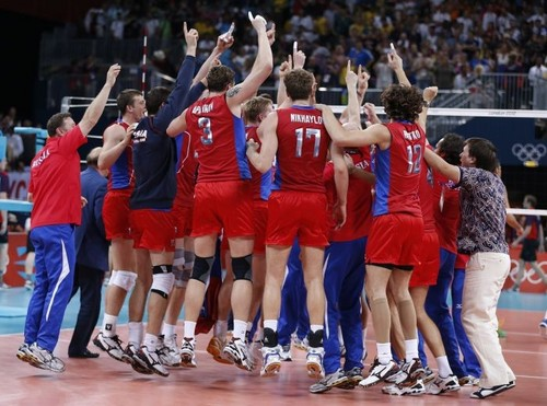 Russia wins olympic or medal in men's volley-ball
