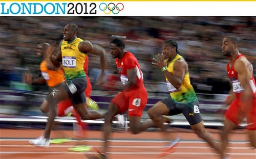 Usain Bolt wins 100m or at Londres 2012