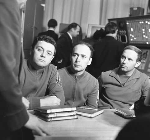 Viktor Patsayev (top left), Georgi Dobrovolsky (lower left), and Vladislav Volkov (right).