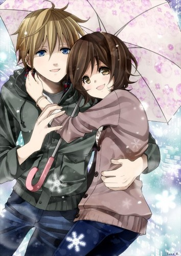 Anime wallpaper possibly with a parasol and a hip boot titled cute couple