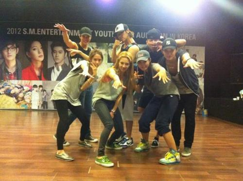 """Rehearsal with the SMtown family"" ^^"