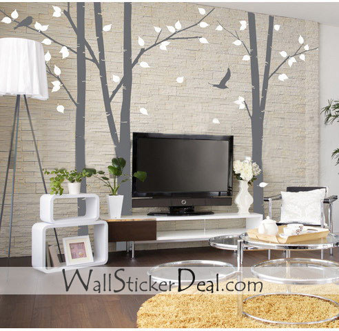 3 set Birch Forest Wall Stickers