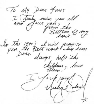 A Handwritten Letter By  Micheal Jackson