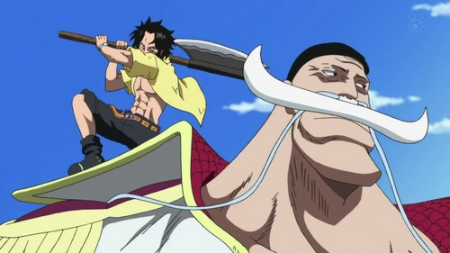 Edward Whitebeard Newgate achtergrond containing anime titled Ace attacks Whitebeard