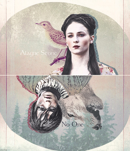 House Stark wallpaper possibly containing a sign and anime titled Arya & Sansa