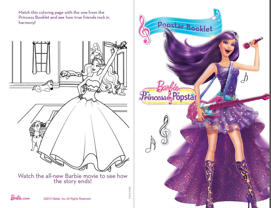 Barbie And The Popstar Coloring Page