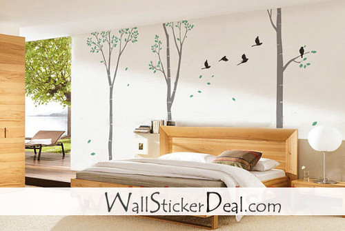 Birds With 100 Inches Birch বৃক্ষ দেওয়াল Stickers