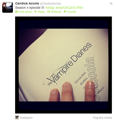 Candice shares a visualização of the 4x05 TVD script. {Twitter pic}