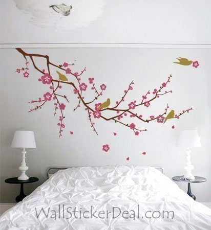 Главная Decorating Обои probably with a hotel room and a bedroom entitled вишня Blossom Branch with Birds Стена Sticker
