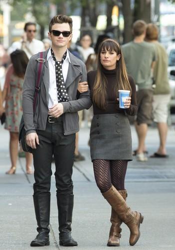 Chris Colfer & Lea Michele On Set in New York