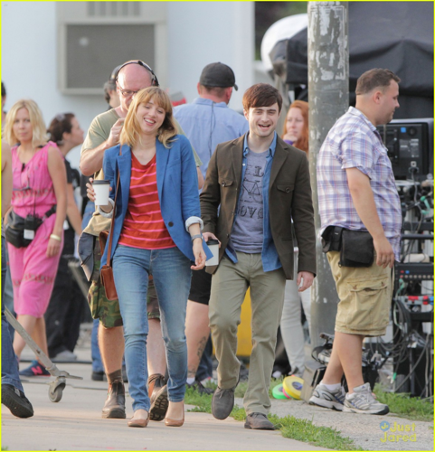 Daniel - and Zoe Kazan on set for The F Word in Toronto, Canada - August 15, 2012
