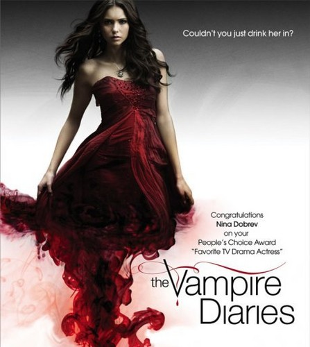 el diario de los vampiros fondo de pantalla with a cena dress and a cóctel, coctel dress titled Elena Gilbert (Nina Dobrev)