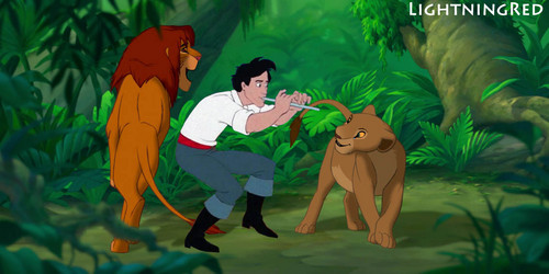 Eric plays flute with Simba and Nala