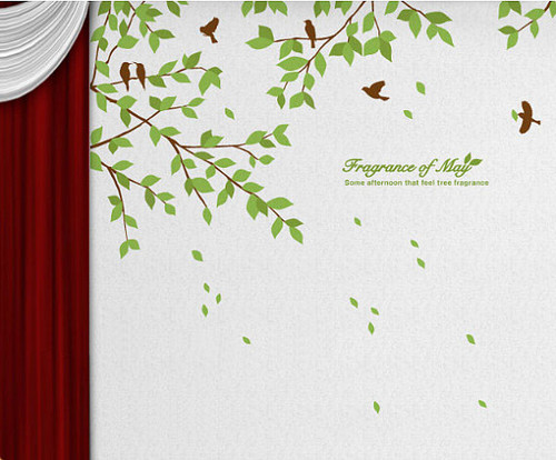 Fragrance Of May Branches with Birds muro Sticker