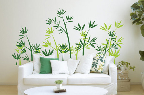 Home Decorating wallpaper probably containing a living room entitled Green Bamboo Forest Wall Sticker