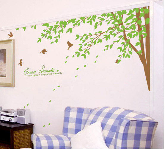 Green Sonata arbre With Birds mur Sticker