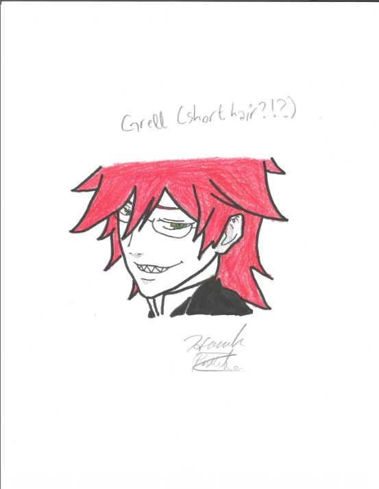 Grell With Short Hair 3 The Kuroshitsuji Black Butler Shinigami Fan Art 31851719 Fanpop