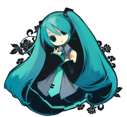 Вокалоид Обои entitled Hatsune Miku Чиби Дизайн