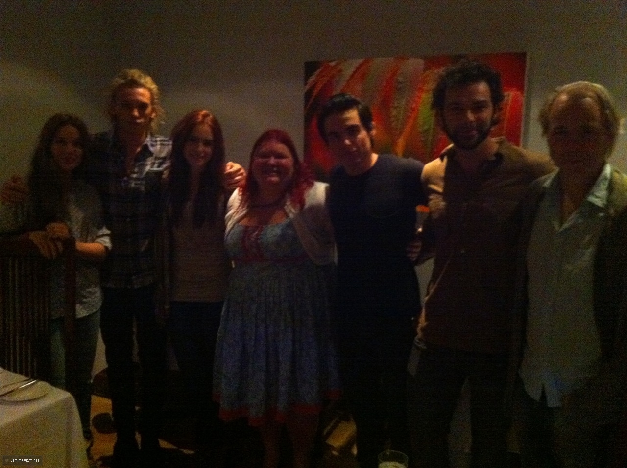 Having dinner with cast and director of TMI and Cassandra Clare (August 16, 2012) - jemima-west Photo