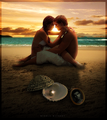 Katniss and peeta on beach - catching-fire photo