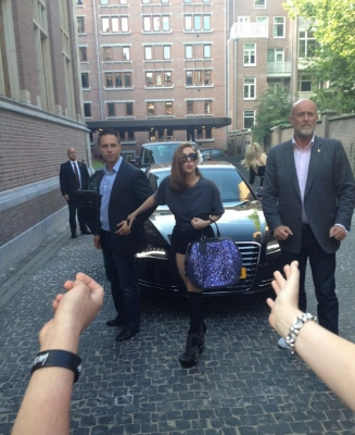 Lady Gaga arrives at her hotel in Amsterdam