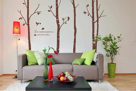 Large Size Birches pohon dinding Sticker