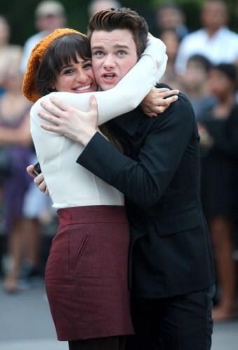Lea Michele & Chris Colfer Filming in New York