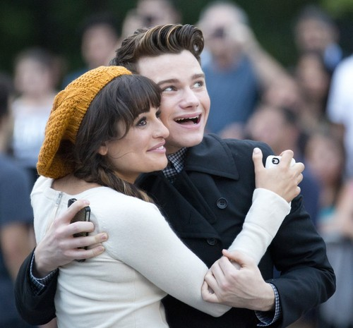 Lea Michele & Chris Colfer Filming in New York