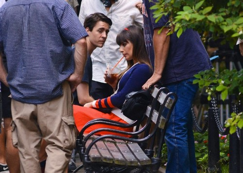 Lea Michele & Dean Geyer Filming On A Bench In New York City