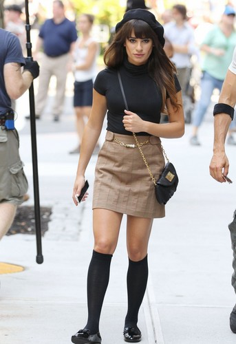Lea Michele & Dean Geyer Filming in New York