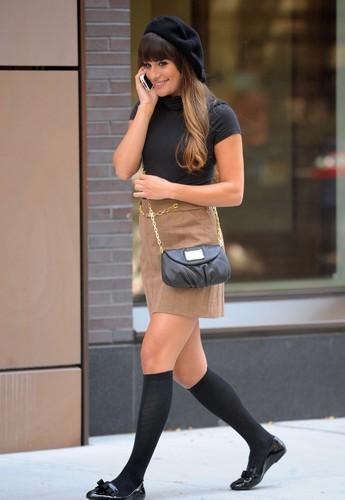 Lea Michele & Dean Geyer Filming in New York