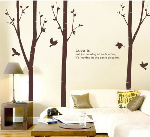 amor Is Not Just Looking At Each Other Birch árbol With Flying Birds muro Sticker