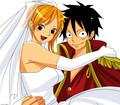 Luffy and Nami get married<3 - doodllecake fan art