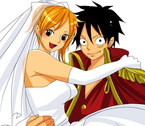 Luffy and Nami get married<3