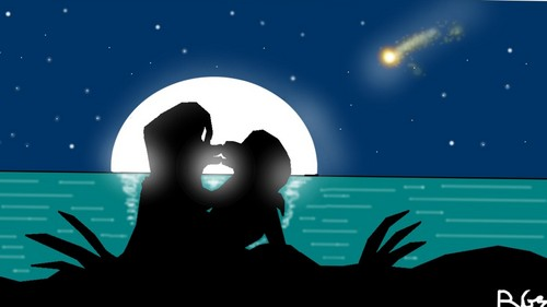 Marlene And Jhordan Kissing In The Moonlight