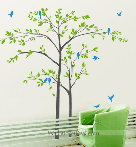 Mother And Son Tree With Playing Birds