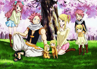 Fairy Tail wallpaper probably containing anime entitled Natsu & Lucy family