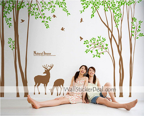 Natural House árbol and Deers muro Sticker