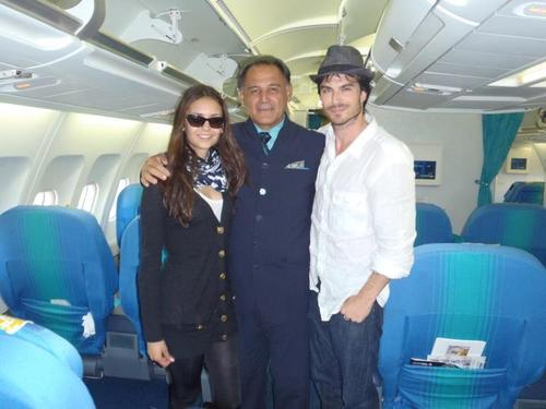 Nian in the plane - ian-somerhalder-and-nina-dobrev Photo