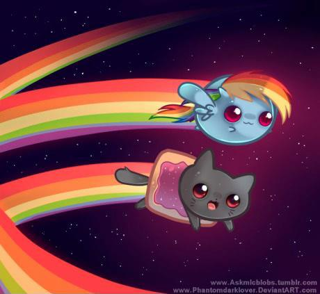 Nyan Cat wolpeyper entitled Nyan Cat and bahaghari Dash chibi