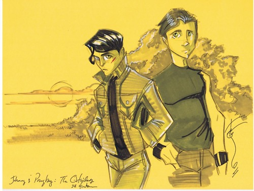 The Outsiders achtergrond with anime titled Ponyboy and Johnny!