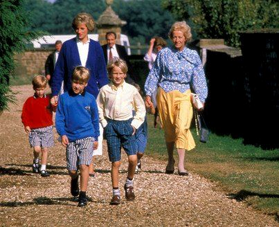 Princess Diana and her Sons 바탕화면 probably containing a 뿌리 덮개 titled Princess Diana, Prince William, Prince Harry, and Diana's mother