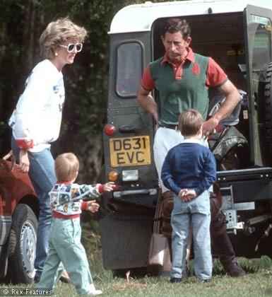 Princess Diana, Prince William and Harry, with Prince Charles