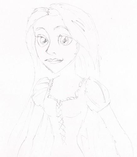 Rapunzel ballpoint sketches