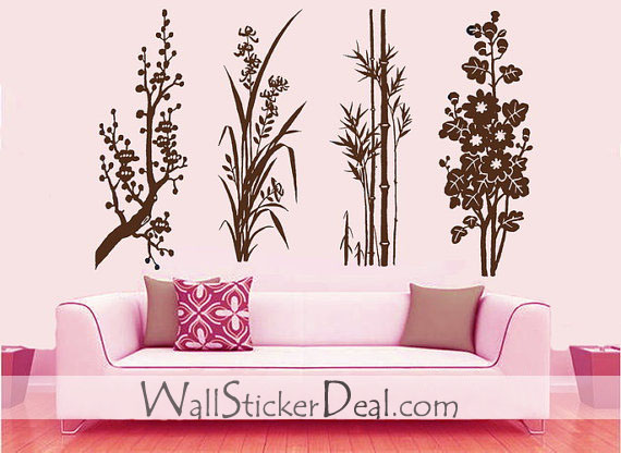 Small Garden بیر Blossom orchid bamboo and کرسنتیمم, گل داؤدی دیوار Sticker