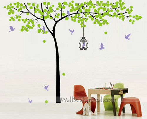 pohon With Birds and Birdcage dinding Stickers