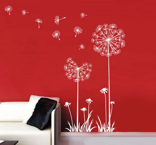 Главная Decorating Обои with a living room, a family room, and a drawing room entitled Wind Puffed Away the Seeds of the Dandelion Стена Stickers